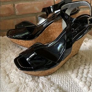 Jessica Simpson black patent leather cork wedges
